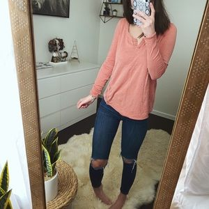 Free People Crotchet Back Long Sleeve Top